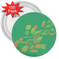 Green abastraction 3  Buttons (100 pack)