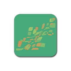 Green abastraction Rubber Square Coaster (4 pack)