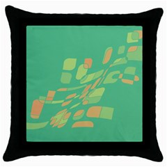 Green abastraction Throw Pillow Case (Black)