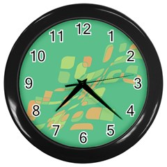Green abastraction Wall Clocks (Black)