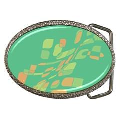 Green abastraction Belt Buckles