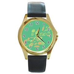 Green abastraction Round Gold Metal Watch