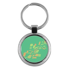 Green abastraction Key Chains (Round)