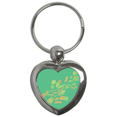 Green abastraction Key Chains (Heart)