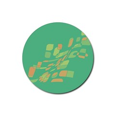 Green abastraction Rubber Coaster (Round)