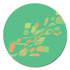 Green abastraction Magnet 5  (Round)