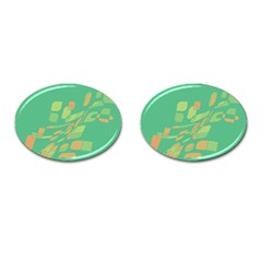 Green abastraction Cufflinks (Oval)