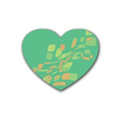 Green abastraction Heart Coaster (4 pack)