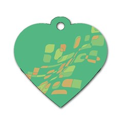 Green abastraction Dog Tag Heart (One Side)