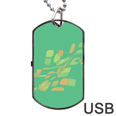 Green abastraction Dog Tag USB Flash (Two Sides)