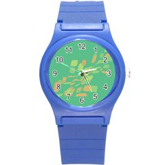 Green abastraction Round Plastic Sport Watch (S)