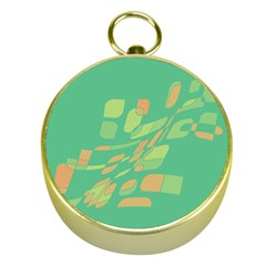 Green abastraction Gold Compasses