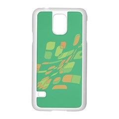 Green abastraction Samsung Galaxy S5 Case (White)