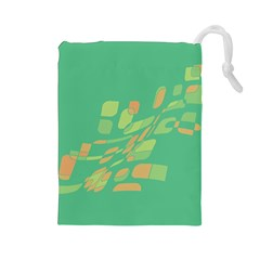 Green abastraction Drawstring Pouches (Large)