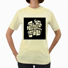 White abstraction Women s Yellow T-Shirt