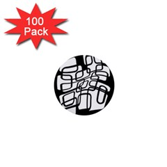 White abstraction 1  Mini Buttons (100 pack)
