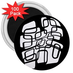 White abstraction 3  Magnets (100 pack)