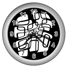 White abstraction Wall Clocks (Silver)