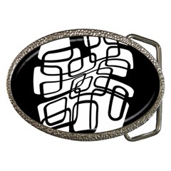 White abstraction Belt Buckles