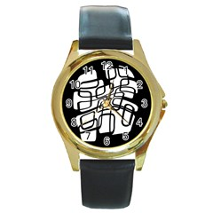 White abstraction Round Gold Metal Watch