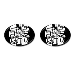 White abstraction Cufflinks (Oval)