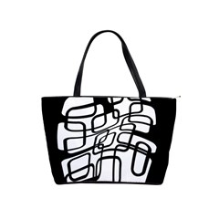 White abstraction Shoulder Handbags