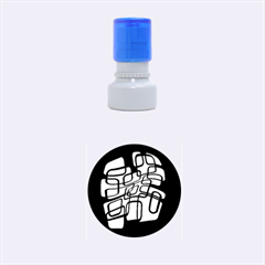 White abstraction Rubber Round Stamps (Small)