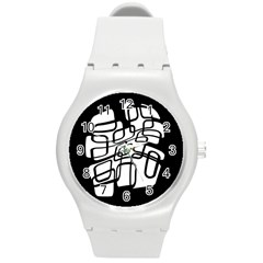 White abstraction Round Plastic Sport Watch (M)