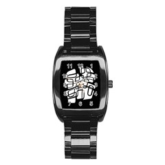 White abstraction Stainless Steel Barrel Watch