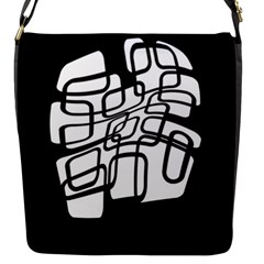White abstraction Flap Messenger Bag (S)