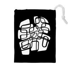 White abstraction Drawstring Pouches (Extra Large)