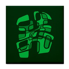 Green abstraction Tile Coasters