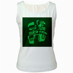 Green abstraction Women s White Tank Top