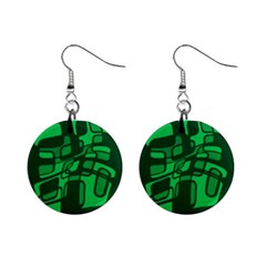 Green abstraction Mini Button Earrings