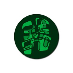 Green abstraction Rubber Round Coaster (4 pack)