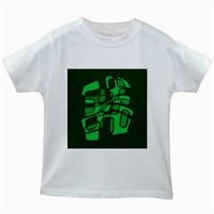 Green abstraction Kids White T-Shirts