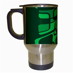Green abstraction Travel Mugs (White)