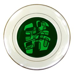 Green abstraction Porcelain Plates