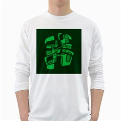 Green abstraction White Long Sleeve T-Shirts