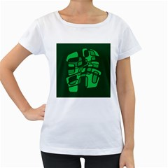 Green abstraction Women s Loose-Fit T-Shirt (White)