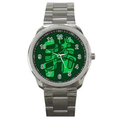 Green abstraction Sport Metal Watch