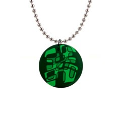 Green abstraction Button Necklaces