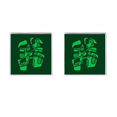 Green abstraction Cufflinks (Square)