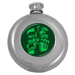 Green abstraction Round Hip Flask (5 oz)