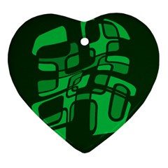 Green abstraction Heart Ornament (2 Sides)