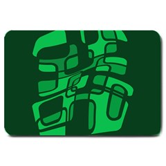 Green abstraction Large Doormat