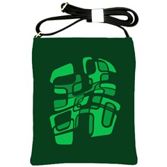 Green abstraction Shoulder Sling Bags
