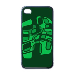 Green abstraction Apple iPhone 4 Case (Black)