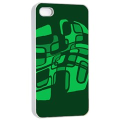 Green abstraction Apple iPhone 4/4s Seamless Case (White)