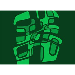Green abstraction Birthday Cake 3D Greeting Card (7x5)